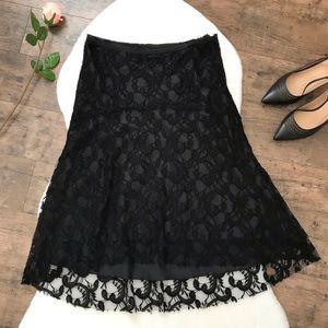 WHBM Black Lace Raw Hem Subtle Hi Low Skirt